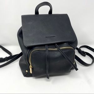 Topshop Black Faux Leather Backpack Drawstring
